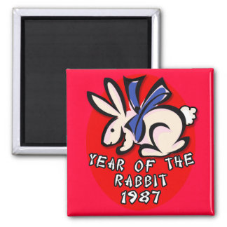 1987 Year of the Rabbit Apparel and Gifts 2 Inch Square Magnet