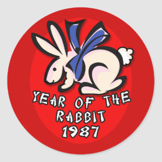 1987 Year of the Rabbit Apparel and Gifts Round Sticker