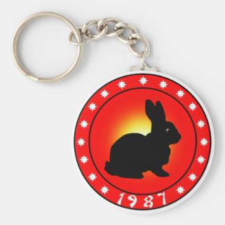 1987 Year of the Rabbit Basic Round Button Keychain