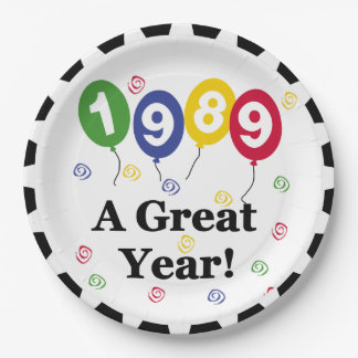 1989 A Great Year Birthday Paper Plates 9 Inch Paper Plate