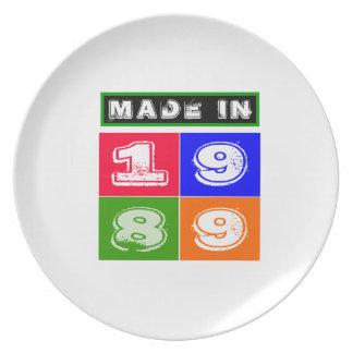 1989 Birthday Designs Dinner Plate