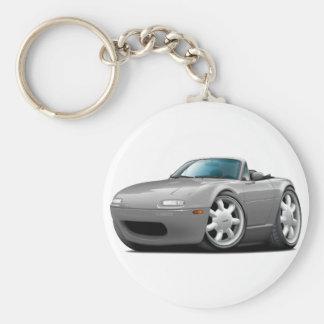 1990-98 Miata Silver Car Basic Round Button Keychain