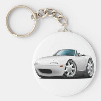 1990-98 Miata White Car Basic Round Button Keychain
