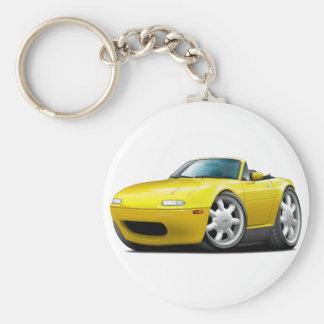 1990-98 Miata Yellow Car Basic Round Button Keychain