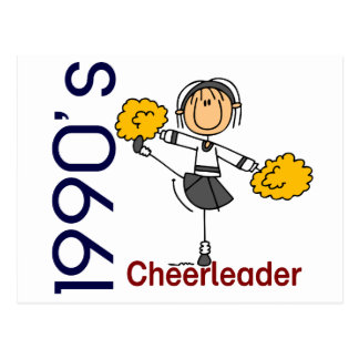 1990's Cheerleader Stick Figure Postcard