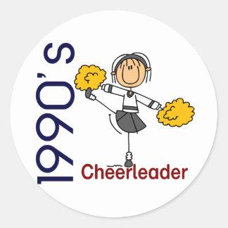 1990's Cheerleader Stick Figure Round Sticker