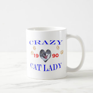 1990 señoras locas del gato taza básica blanca