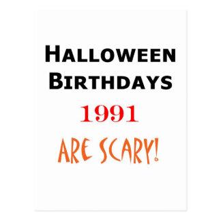 1991 halloween birthday postcard