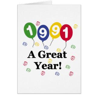 1991 un cumpleaños del gran año tarjeta de felicitación