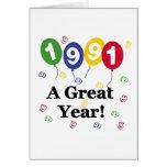 1991 un cumpleaños del gran año tarjetas