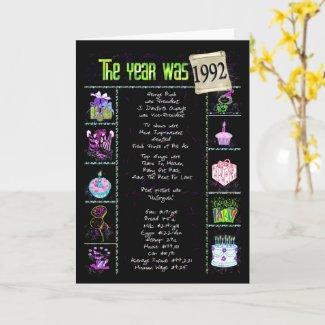 1992 Birthday Year Card