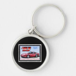 1993 40th Anniversary Corvette Silver-Colored Round Keychain