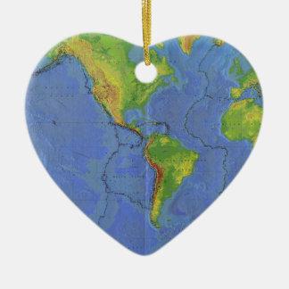 1994 mapa del mundo físico - placas tectónicas - adorno navideño de cerámica en forma de corazón
