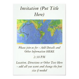 """1994 mapa del mundo físico - placas tectónicas - invitación 5.5"""" x 7.5"""""""