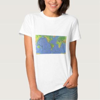 1994 mapa del mundo físico - placas tectónicas - polera