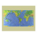 1994 mapa del mundo físico - placas tectónicas - postal