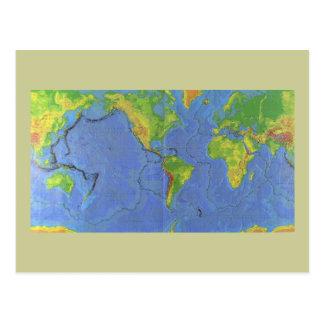 1994 mapa del mundo físico - placas tectónicas - postales