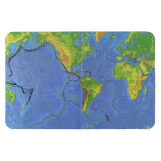 1994 mapa del mundo físico - placas tectónicas - U Imanes De Vinilo