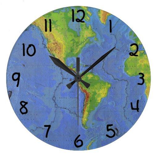 1994 mapa del mundo físico - placas tectónicas - U Reloj Redondo Grande