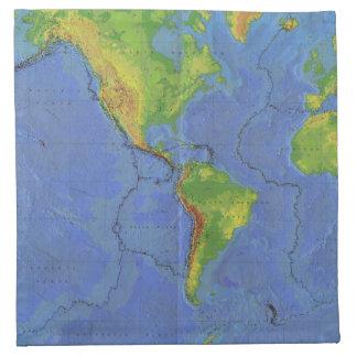 1994 mapa del mundo físico - placas tectónicas - U Servilleta