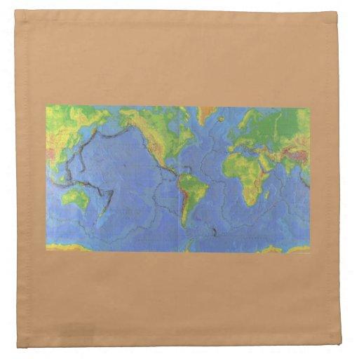 1994 mapa del mundo físico - placas tectónicas - U Servilletas