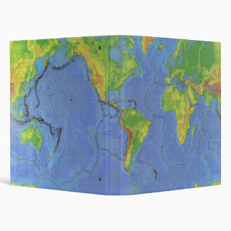 1994 Physical World Map - Tectonic Plates - USGS 3 Ring Binder