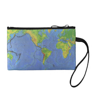 1994 Physical World Map - Tectonic Plates - USGS Change Purse