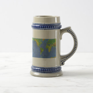 1994 Physical World Map - Tectonic Plates - USGS Beer Stein
