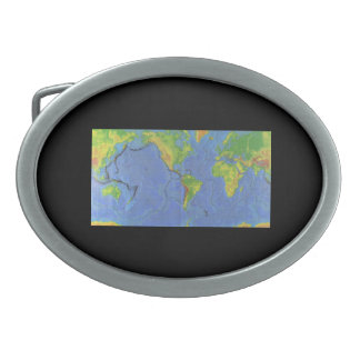 1994 Physical World Map - Tectonic Plates - USGS Belt Buckle