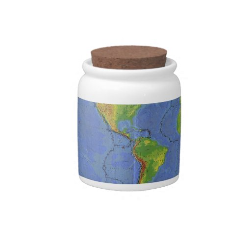 1994 Physical World Map - Tectonic Plates - USGS Candy Jar