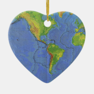 1994 Physical World Map - Tectonic Plates - USGS Double-Sided Heart Ceramic Christmas Ornament
