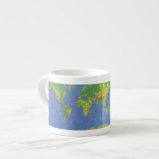 1994 Physical World Map - Tectonic Plates - USGS Espresso Cup