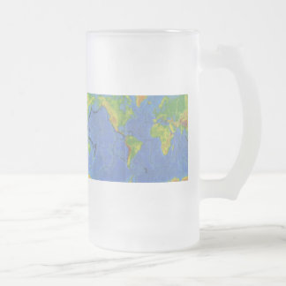 1994 Physical World Map - Tectonic Plates - USGS Frosted Glass Beer Mug