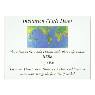1994 Physical World Map - Tectonic Plates - USGS 5.5x7.5 Paper Invitation Card