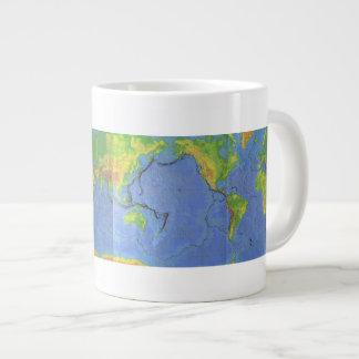 1994 Physical World Map - Tectonic Plates - USGS Large Coffee Mug