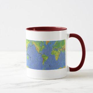 1994 Physical World Map - Tectonic Plates - USGS Mug