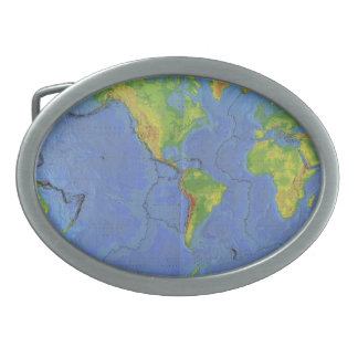 1994 Physical World Map - Tectonic Plates - USGS Oval Belt Buckle