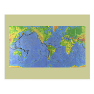 1994 Physical World Map - Tectonic Plates - USGS Post Cards