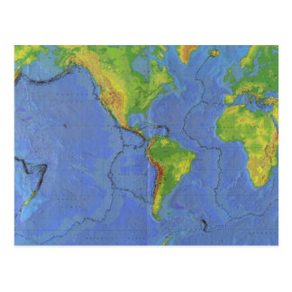 1994 Physical World Map - Tectonic Plates - USGS Postcard