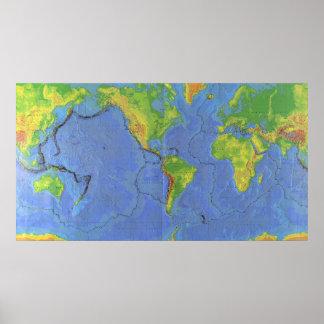 1994 Physical World Map - Tectonic Plates - USGS Print