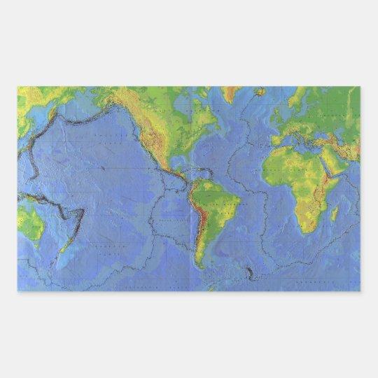 1994 Physical World Map - Tectonic Plates - USGS Rectangular Sticker