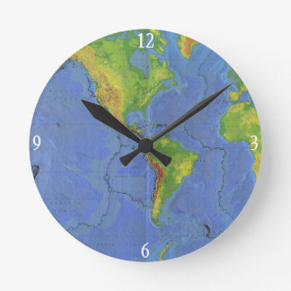 1994 Physical World Map - Tectonic Plates - USGS Round Clock