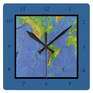 1994 Physical World Map - Tectonic Plates - USGS Square Wallclock