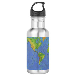 1994 Physical World Map - Tectonic Plates - USGS Stainless Steel Water Bottle