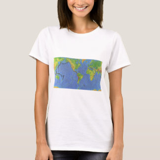 1994 Physical World Map - Tectonic Plates - USGS T-Shirt