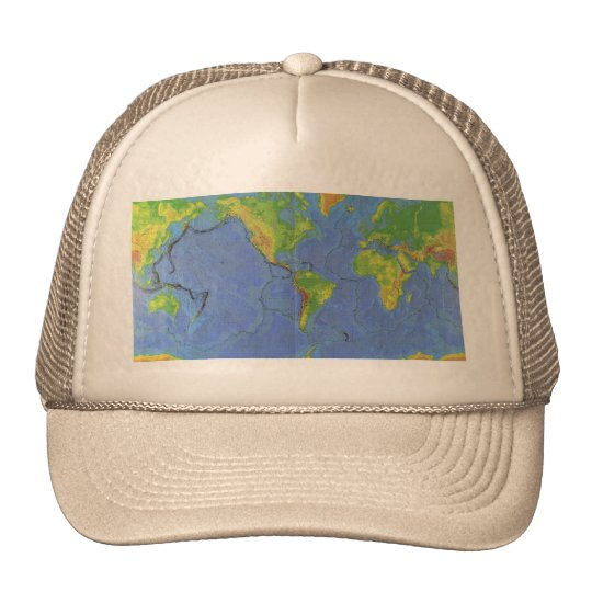 1994 Physical World Map - Tectonic Plates - USGS Trucker Hat