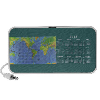1994 USGS Physical World Map w/ 12 Month Calendar PC Speakers