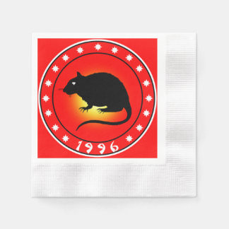 1996 Year of the Rat Coined Cocktail Napkin