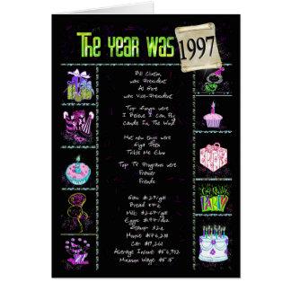 1997 datos divertidos del cumpleaños tarjeta de felicitación