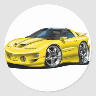 1998-02 Trans Am Yellow Car Classic Round Sticker